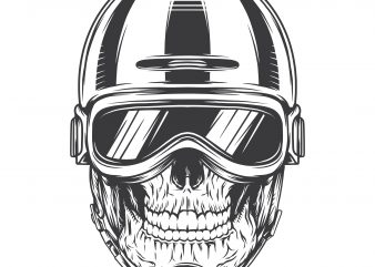 Biker skull. Vector T-Shirt Design