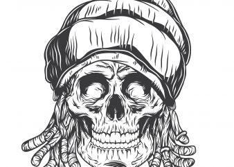 Rasta skull. Vector T-Shirt Design