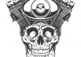 Engine skull. Vector T-Shirt Design