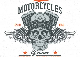 Custom motorcycles. Vector T-Shirt Design