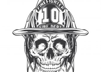 Firefighter skull. Vector T-Shirt Design