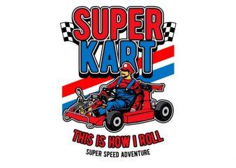 Super Kart t shirt template vector