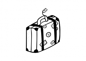 Travel bag carpetbag case symbol traveler vector t shirt printing design