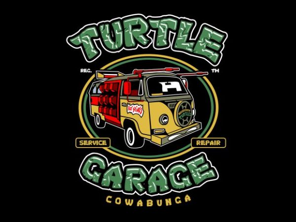 Turtle Garage t shirt designs for sale