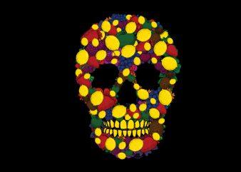 Fruit skull t shirt vector