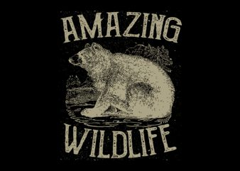 Bears Amazing Wildlife. Vector T-Shirt Design
