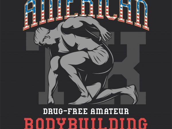 American bodybuilding championship. Vector T-Shirt Design