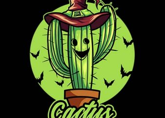 cactus witch tshirt design
