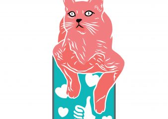 Cat with like and love. Vector T-Shirt Design buy t shirt design