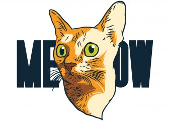 Сat head. Meow. Vector T-Shirt Design