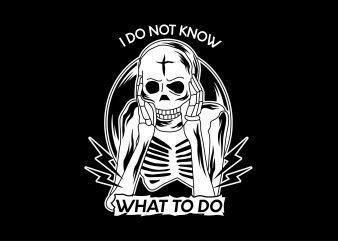 Confused skull Vector t-shirt design buy t shirt design