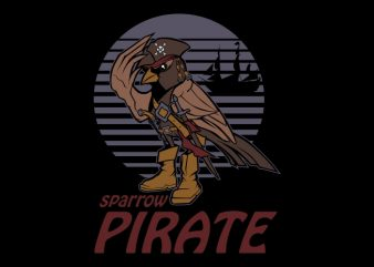 sparrow pirate t shirt template vector