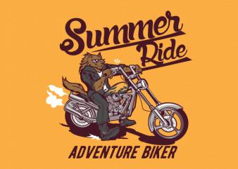 summer ride wolf t shirt template vector