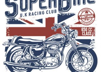 SUPERBIKE t shirt template vector