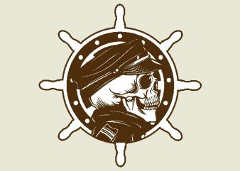 skulls captain and ship's wheel t shirt template vector
