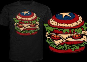 American sandwich t shirt vector
