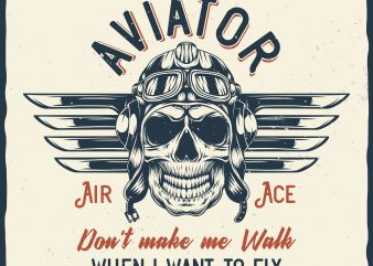 Aviator. Vector T-Shirt Design