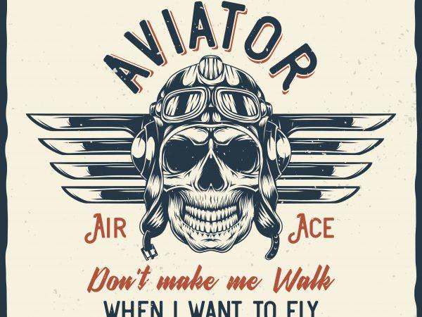 Aviator. Vector T-Shirt Design
