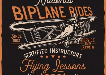 National Biplane Rides. Vector T-Shirt Design