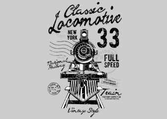 Classic Locomotive t shirt vector file