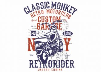 Classic Monkey t shirt vector file