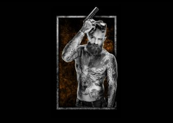 Graphic t-shirt design man holding a gun,ful tatto