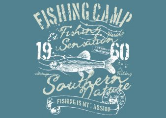 Fishing Camp t shirt graphic design
