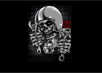Helmet Skull Racer t shirt template