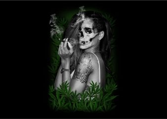 Ladies Skull with Marijuana t shirt template