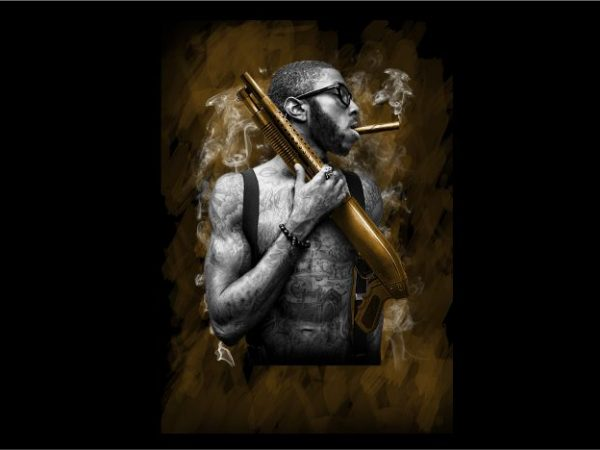 Man with Tatoo Handling Shotgun t shirt designs for sale