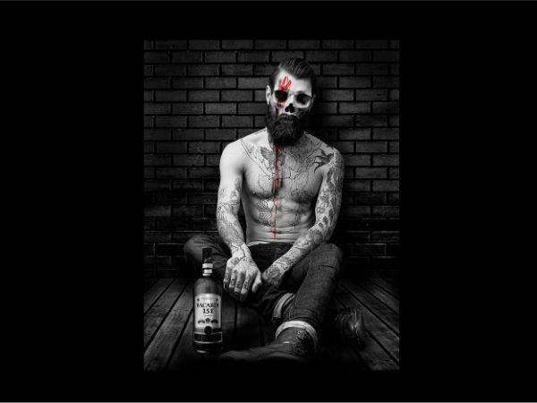Men Skull with Tatoo t shirt designs for sale