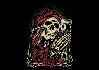 Pray Skull t shirt illustration