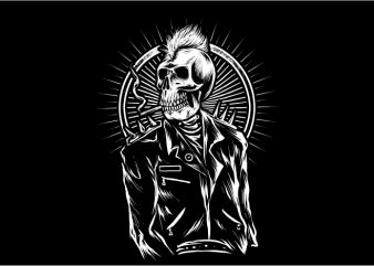 Punk Skull t shirt illustration