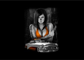 Sexy Girl with Classic Car t shirt template vector