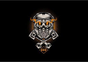 Skull Moto Cross t shirt template
