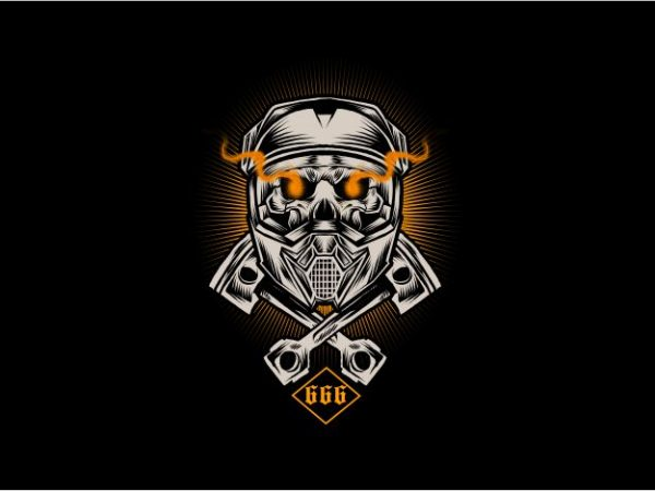 Skull Moto Cross t shirt template vector