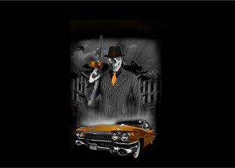 Skull Gangster Mafia with Car t shirt template vector