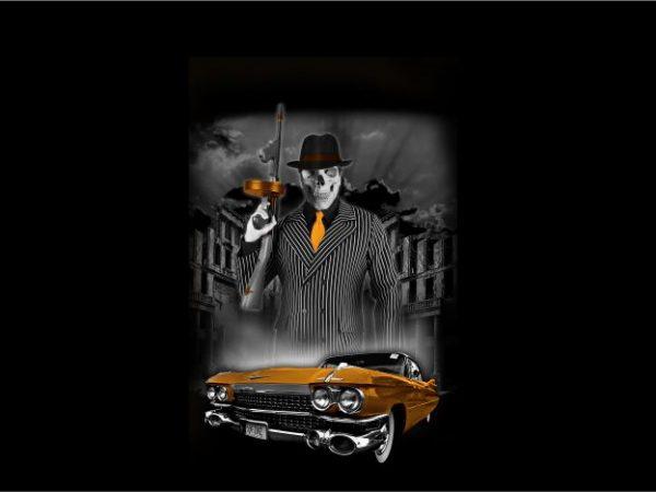 Skull Gangster Mafia with Car t shirt template vector