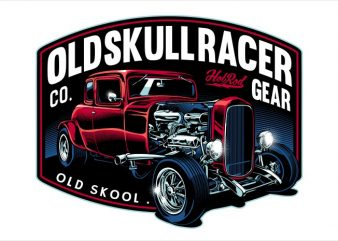 Old skull racer t shirt template