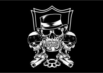 Three Skull Gangster t shirt designs for sale