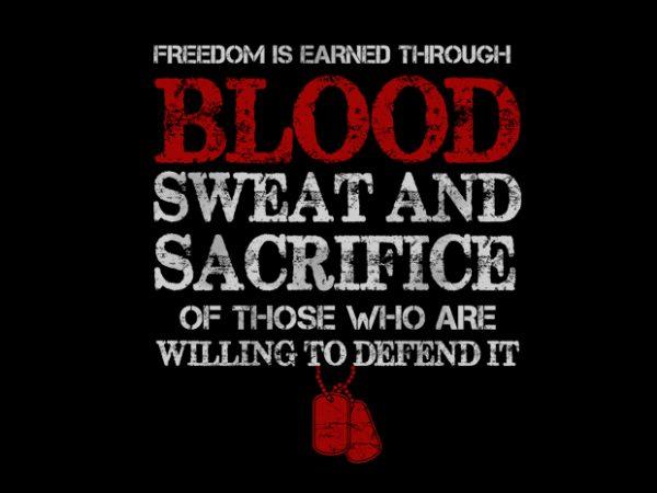 VETERAN BLOOD t shirt vector art