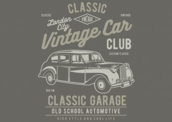 Vintage London Car t shirt template