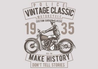 Vintage Police Classic t shirt vector art