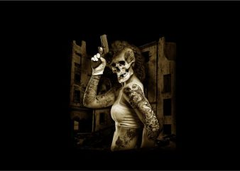 Woman with Skull Head Handling Pistol t shirt design for sale