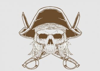 skull pirates t shirt template vector