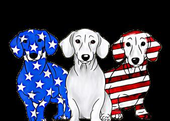 Dachshund Breed Dog America Flag Patriot Design PNG T shirt   4th Of July Dog mix Flag PNG