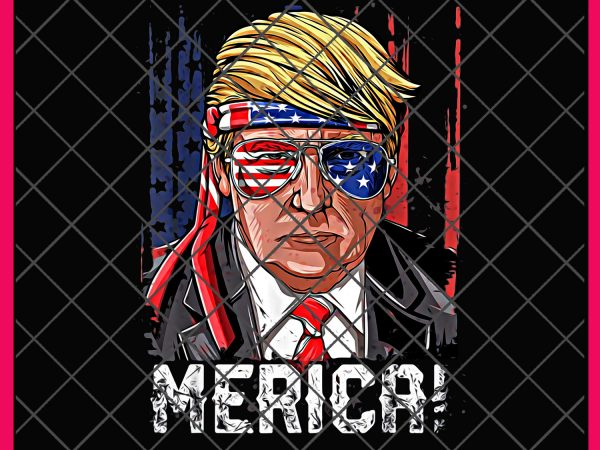 Merica Trump Sunglasses Funny USA Flag 4th of July Vintage Design PNG T shirt | Merica America Flag | Trump Funny Day Drinkin Independence Day Shirt