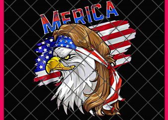 Merica Mullet Eagle America Flag ribbon scarf Cool PNG T shirt t shirt template