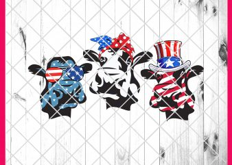 4th Of July Cow America Flag Design PNG T shirt | Cow Heifer Blue white Red USA flag Funny Farmer Life PNG Shirt