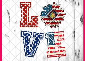 4th of July Love Flower America Flag Deisng PNG T shirt | Love America Daisy Peace PNG T shirt t shirt template